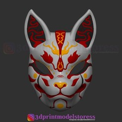 Download 3D printer designs Japanese Fox Mask Demon Kitsune Costume Cosplay Helmet STL File , 3DPrintModelStoreSS