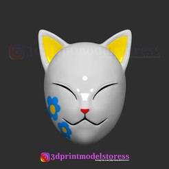 Download 3D printing designs Makomo Mask Kimetsu no Yaiba Costume Cosplay Helmet  , 3DPrintModelStoreSS