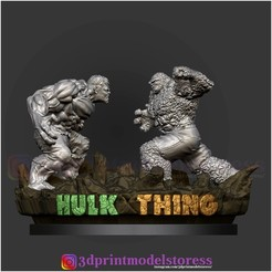 Download 3D printing templates Hulk VS Thing Diorama Statue 3D Printable, 3DPrintModelStoreSS
