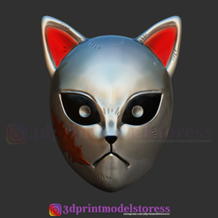 Download 3D printer files Kimetsu no Yaiba Sabito Mask - Kitsune Fox Mask for Cosplay, 3DPrintModelStoreSS