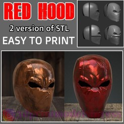 Download 3D printer files Red Hood Rebirth Helmet -  Red Hood Mask Jason Todd Superhero STL File, 3DPrintModelStoreSS