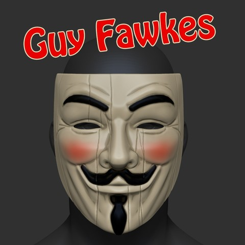3D print files Guy Fawkes V For Vendetta Mask Anonymous STL File , pthofantastic
