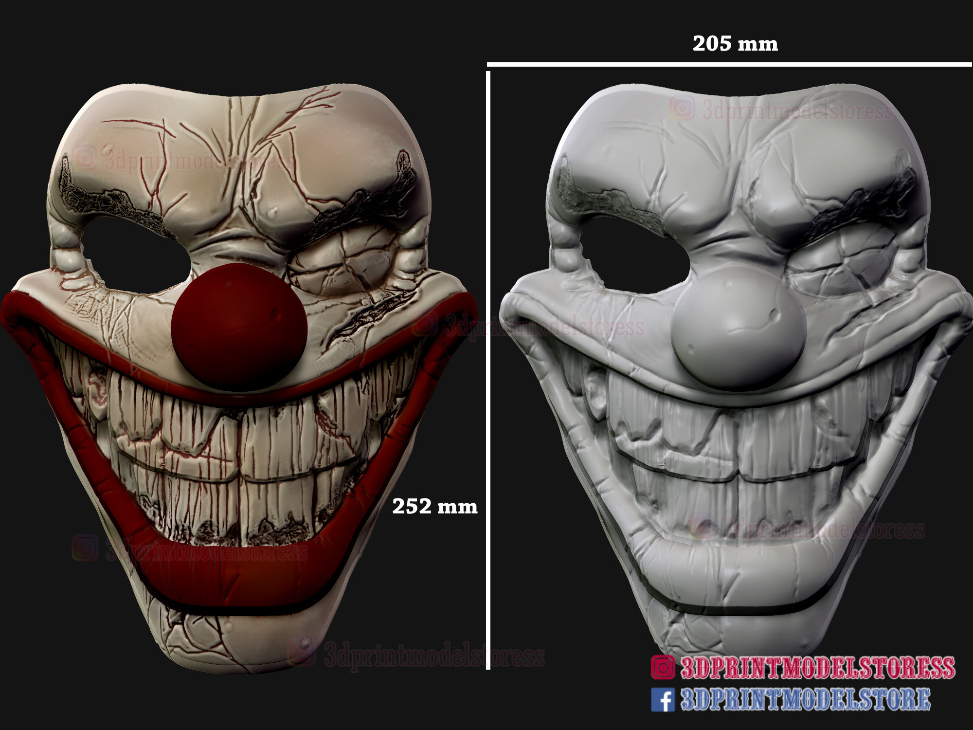 Twisted_metal_killer_clown-12.jpg Download STL file Twisted Metal Killer Clown Mask  • 3D printer model, 3DPrintModelStoreSS