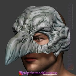 Télécharger fichier 3D Casque d'Halloween Raven Skull Mask Costume Costume Costume Cosplay, 3DPrintModelStoreSS