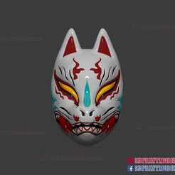 Download 3D printer templates Japanese Fox Mask Demon Kitsune Cosplay Helmet STL File , 3DPrintModelStoreSS