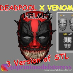 deadpool_venom_mask_000.jpg Télécharger fichier STL Deadpool x Venom Mask Cosplay Halloween STL File • Objet imprimable en 3D, 3DPrintModelStoreSS