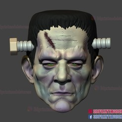 frankenstein_cosplay_mask_3dprint_file_01.jpg Télécharger fichier STL Frankenstein Cosplay Mask - Casque d'Halloween pour monstres • Plan pour imprimante 3D, 3DPrintModelStoreSS