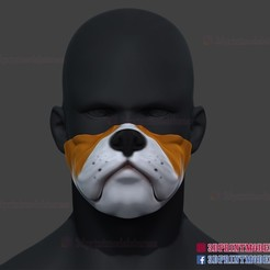 Bulldog_Mask_Face_Cosplay_3dprint_01.jpg Download STL file Bulldog Face Mask Halloween Cosplay for 3D Print • Design to 3D print, 3DPrintModelStoreSS