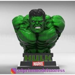 HulkBust_001.jpg Download STL file Hulk Bust 3D Printable Statue • Model to 3D print, 3DPrintModelStoreSS
