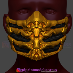 Download 3D printing files Scorpion Mask from Mortal Kombat Cosplay 3D Print Model , 3DPrintModelStoreSS