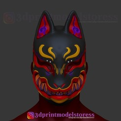 Download 3D printer templates Japanese Fox Mask Demon Kitsune Cosplay Helmet STL File , 3DPrintModelStoreSS