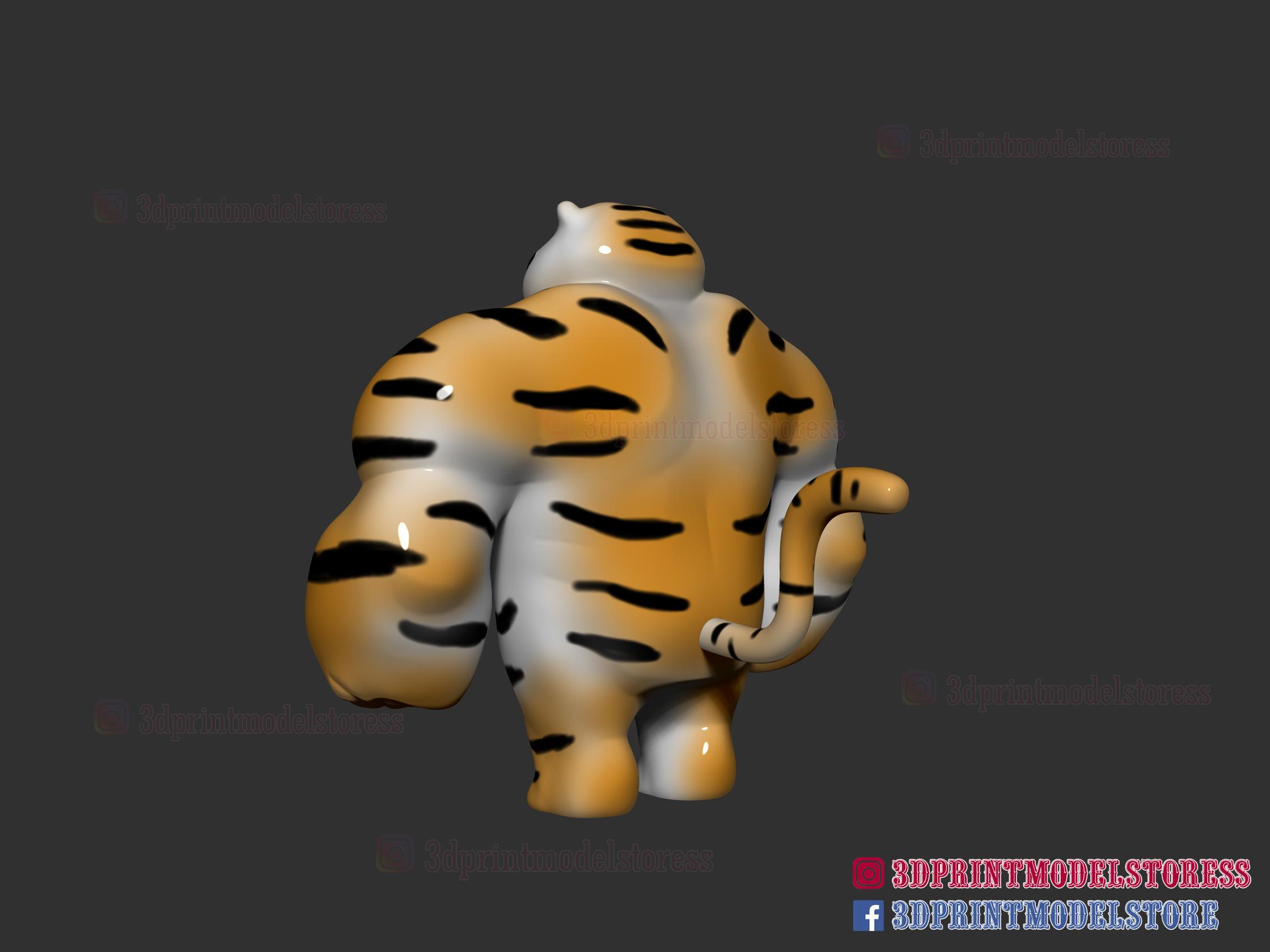 Tiger-muscle-meme-04.jpg Download STL file Tiger Muscle Meme - Swole Tiger Cute Gift • 3D print design, 3DPrintModelStoreSS