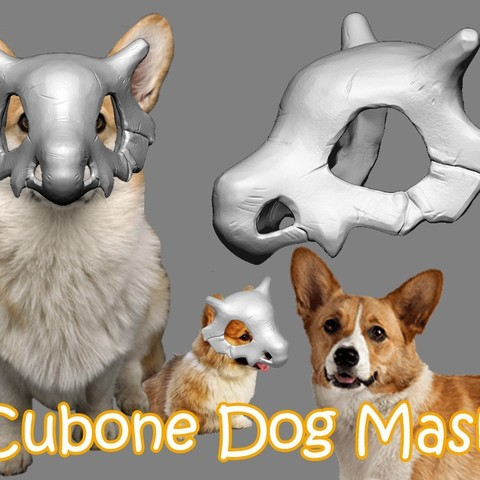 STL Cubone Dog Mask , 3DPrintModelStoreSS