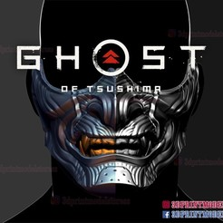 Descargar STL Máscara del Fantasma de Tsushima - Casco japonés, 3DPrintModelStoreSS