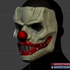 Clown_Motorcyle_helmet_3d_print_model-02.jpg Download STL file Clown Motorcycle Mask - Cosplay Halloween Helmet • 3D print template, 3DPrintModelStoreSS