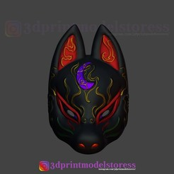 Download 3D printer files Japanese Fox Mask Demon Kitsune Cosplay Costume Helmet , 3DPrintModelStoreSS