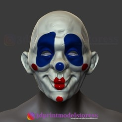 Download 3D printer model Henchmen Dark Knight Clown Joker Mask Costume Helmet, 3DPrintModelStoreSS