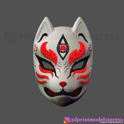 Download 3D printer templates Japanese Fox Mask Demon Kitsune Cosplay , 3DPrintModelStoreSS