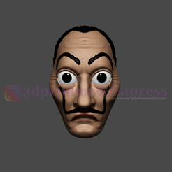 Download STL Dali Mask Salvador Lacasa de papel Face Mask - Money Heist Mask , 3DPrintModelStoreSS
