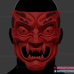 Cyborg_Oni_Mask_3d_print_file-01.jpg Download STL file Cyborg Oni Mask - Japanese Kitsune Demon • 3D printer design, 3DPrintModelStoreSS