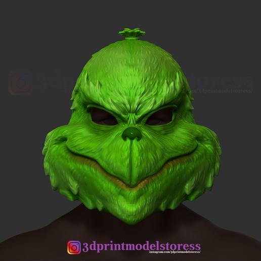 Download 3D printing designs The Grinch Mask Christmas Costume Xmas Helmet  Cosplay, 3DPrintModelStoreSS