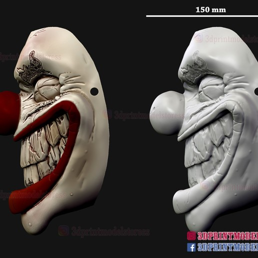 Twisted_metal_killer_clown-13.jpg Download STL file Twisted Metal Killer Clown Mask  • 3D printer model, 3DPrintModelStoreSS
