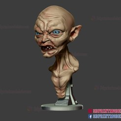 Gollum_3d_print_file_01.jpg Download STL file Gollum The Lord of the Rings Sculpture Bust STL File 3D Print File • 3D printable model, 3DPrintModelStoreSS