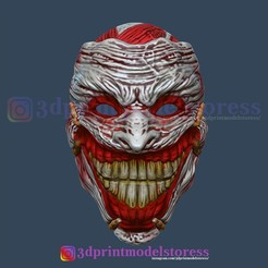 Download STL file Clown Joker Mask Death of the Family Cosplay Halloween Helmet , 3DPrintModelStoreSS