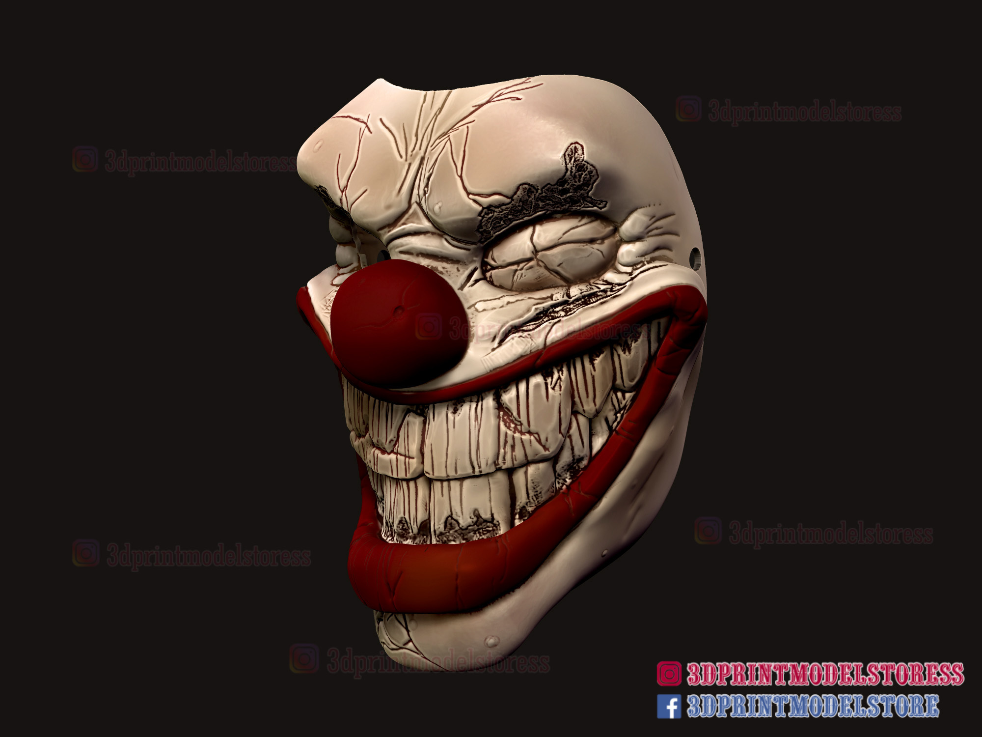Twisted_metal_killer_clown-06.jpg Download STL file Twisted Metal Killer Clown Mask  • 3D printer model, 3DPrintModelStoreSS