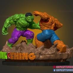 Hulkvsthing_009.jpg Download STL file Hulk VS Thing Marvel Comic Diorama Statue 3D Printable • 3D print model, 3DPrintModelStoreSS