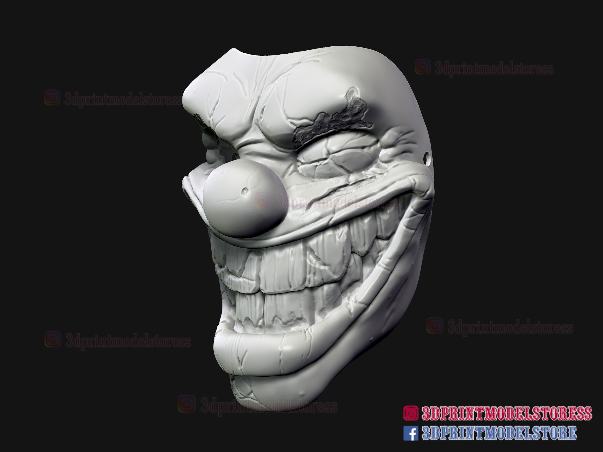 Twisted_metal_killer_clown-09.jpg Download STL file Twisted Metal Killer Clown Mask  • 3D printer model, 3DPrintModelStoreSS