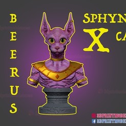 Sphynx Cat_Beerus_Bust_3dprintable_stl_01.jpg Download STL file Sphynx Cat Statue x Beerus Sama Dragon Ball Super Bust  • 3D printable model, 3DPrintModelStoreSS