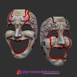 Download 3D printing templates Comedy and Tragedy Theater Mask Set Costume Cosplay Halloween Helmet, 3DPrintModelStoreSS
