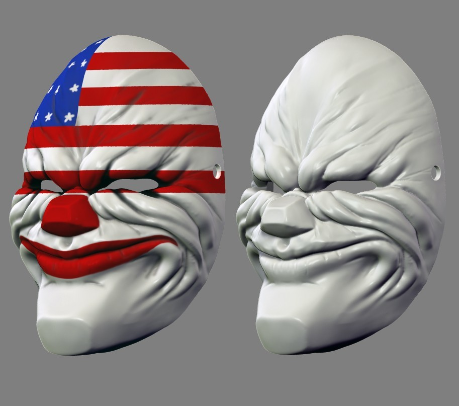 payday_mask_010.jpg Download STL file Payday 2 the Heist Dallas Game Mask Cosplay Halloween STL File for 3D Printing • 3D printable template, 3DPrintModelStoreSS