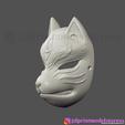 Download 3D printer templates Japanese Fox Mask Demon Kitsune Cosplay , 3DPrintModelStoreSS
