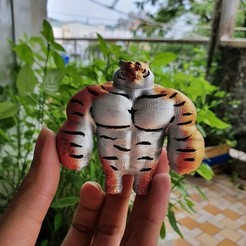 Download free 3D printer designs Tiger Muscle Meme - Swole Tiger Cute Gift, 3DPrintModelStoreSS