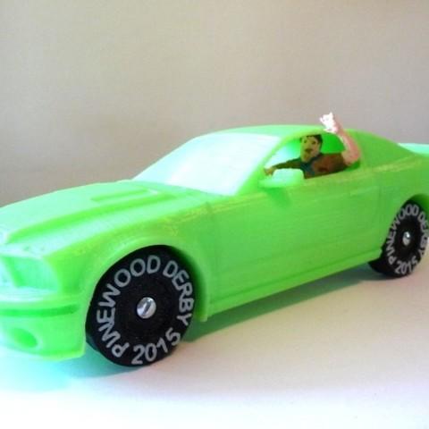 Download free STL Polystang - 3D Printed Pinewood Derby Mustang, MakersBox
