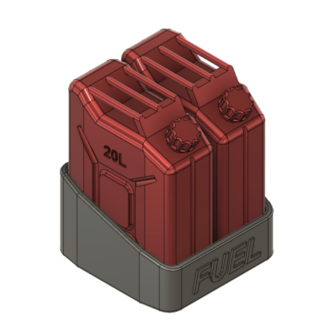 Jerry can support 2-1-FR.png Download STL file JERRY CAN FUEL CAN TRX4 SCX10 K5 RC4WD SCALE RC Support • 3D print object, kiatkla