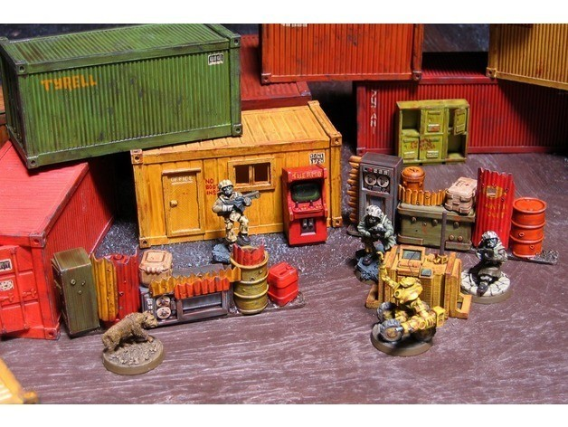 816e67bee35b97fbed7d69f44d391e6c_preview_featured.jpg Download free STL file 28mm Kitset Shipping Containers • 3D printable design, tabletop-terrain