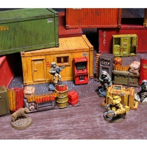 Free 28mm Kitset Shipping Containers 3D model, tabletop-terrain