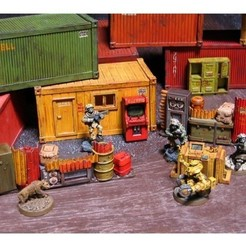 Download free 3D printer model 28mm Kitset Shipping Containers, tabletop-terrain