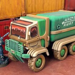 garbageTruckFrontScalePreview.png Download STL file Garbage Truck - 28mm • 3D printing design, tabletop-terrain