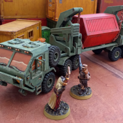 transporter.png Download STL file Military Transporter - 28mm • 3D printer object, tabletop-terrain