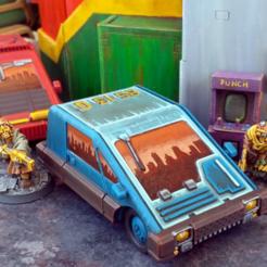 Download 3D printer templates Cyberpunk Compact Car - 28mm, tabletop-terrain
