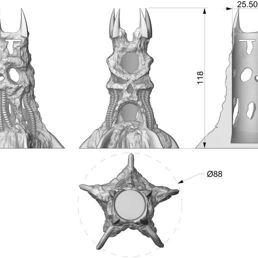 base dims.jpg Descargar archivo STL gratis Sky solo Plus Skull Base • Objeto imprimible en 3D, diegokrause