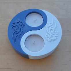TLH0.png Download STL file YIN YANG T-LIGHT • 3D printing template, metac
