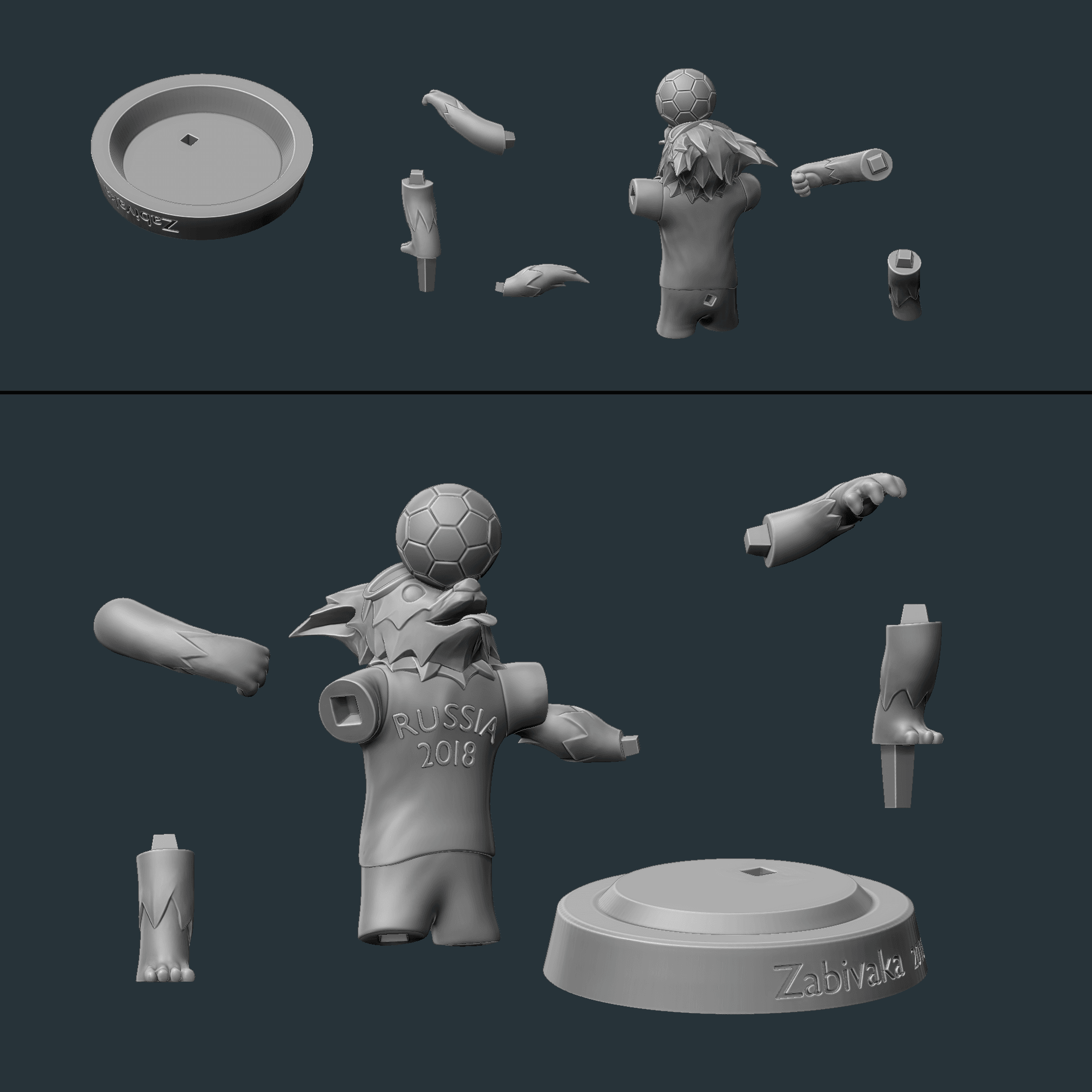 5.png Download OBJ file Zabivaka World Cup 2018 Mascot • 3D printer template, NoEvil116