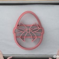 Egg with a bow.jpg Télécharger fichier STL Formulaire pour les biscuits et le pain d'épices Oeuf avec un arc • Plan imprimable en 3D, dmitriysk3d