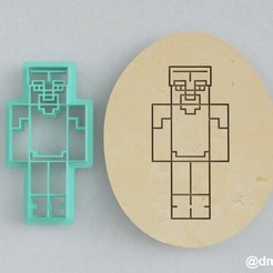 Steve in diamond armor_2.jpg Télécharger fichier STL Formulaires pour les biscuits et le pain d'épice Steve en armure de diamant Minecraft • Plan pour imprimante 3D, dmitriysk3d
