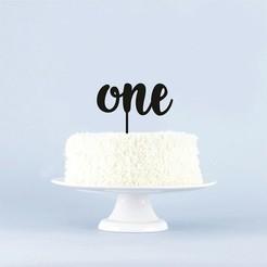 Cake_Topper_One_Bebé.jpg Télécharger fichier STL gratuit Le premier gâteau (bébé) • Objet pour imprimante 3D, 3Dgardo